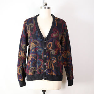 vintage hand knit paisley cardigan sweater size XL